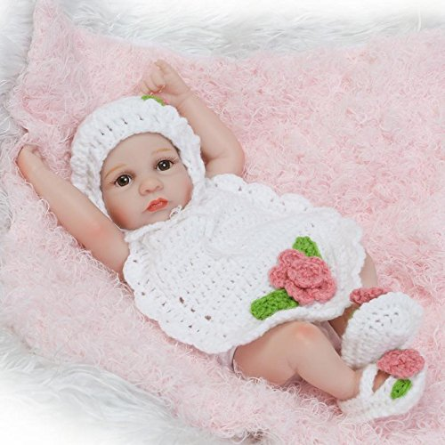 iCradle Mini Reborn Baby Doll Full Body Vinyl Silicone 10' 26cm Realistic Looking Baby Girl Newborn Dolls Anatomically Correct Beautiful White Knit Sweater