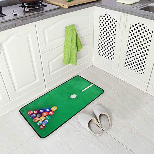 Mnsruu Billiard Green Table Non Slip Kitchen Floor Mat Kitchen Rug for Entryway Hallway Bathroom Living Room Bedroom 50 x 100 cm(1.7' x 3.3')