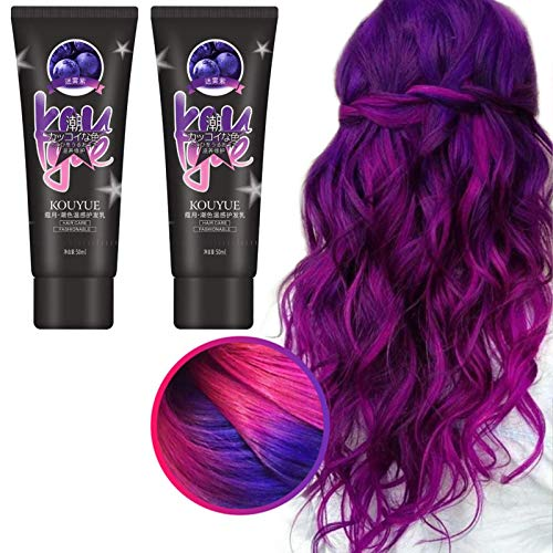 hook.s 2 Stück Thermochronic Color Changing Wonder Dye, Thermo-Sensing Dyeing Cream, Paint Magische Haarfarbe Dye Cream (Lila bis Rot)