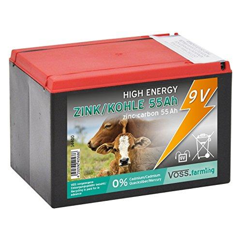 VOSS.farming Weidezaun Trockenbatterie 9 Volt, 55Ah für Weidezaungerät 9V, Lange Laufzeit, geeignet für Solarset