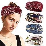 4 Piezas Diadema Para Mujer Anudadas Elásticas Head Wrap Twisted Accesorios Boho Bandas Turbante Yoga Sweatband para Mujeres y Niñas