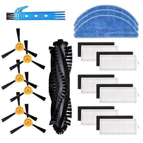 BSDY YQWRFEWYT Kit d'accessoires de rechange pour aspirateur robot Ecovacs Deebot 605 Matériel Premium Pack Famille de 1 brosse principale + 6 filtres + 6 brosses latérales + 3 serpillères