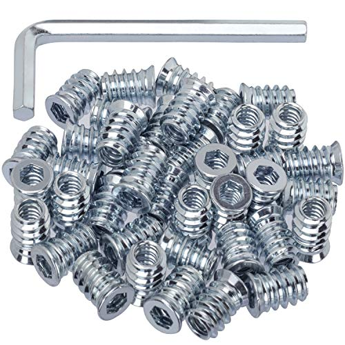"""40 Pack Threaded Insert Nutsert, 1/4""""-20 x 15mm Screw in Nut Threaded Wood Inserts, for Wood Furniture(with 1/4"""" Allen Wrench)"""