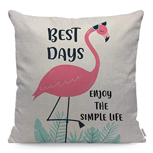 Wozukia Flamingo Throw Pillow Covers Wearing Sunglasses Best Days Enjoy The Simple Life Tropical Leaves Decoration Decorative Pillow Cases Covers Home Decor Square 16 x 16 Inch