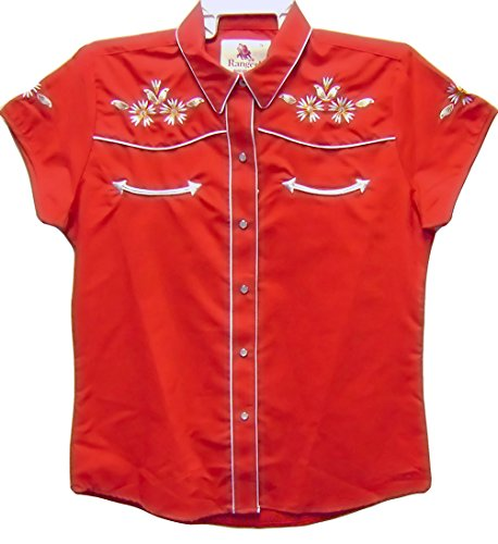 Modestone Women's Embroidered Short Sleeve Western Camisa Vaquera Floral EmbroideredS Red