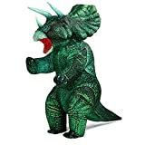 Inflatable Dinosaur Costume Triceratops for Adult Blow up Dino Theme Party Costume Funny Halloween Dinosaur Suit