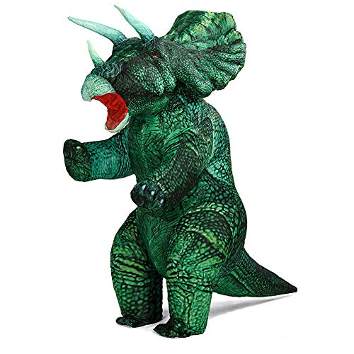 MXoSUM Inflatable Dinosaur Costume for Adult Blow up Triceratops Costumes Halloween Dino Costumes Funny Party Dinosaur Outfit Fancy Dress up (Green, Standing Style)
