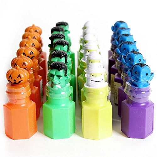 Kicko Halloween Monster Bubble Bottles - 24 Pack - 2.75 Inch - for Kids, Party Favors, Stocking Stuffers, Classroom Prizes, Decorations, Birthday Supplies, Holidays, Pinata Fillers, Novelties