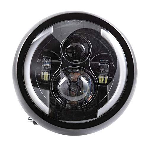Luntus Faros LED de Motocicleta Redondos Universales de 7.5 Pulgadas Faros de Motocicleta Retro Negro