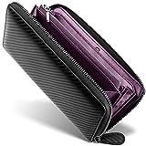 イタリアン カーボンレザー メンズ 長財布 財布 大容量 レザー 革 ウォレット ラウンドファスナー 選べる4色 【 GRACE 】(ブラック/バイオレット)