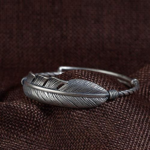 Bracelet En Argent Femme 925,Bracelet Vintage Fait Main Pied 990 Plumes D'Argent Bracelet Argent Mat Argent Thaï Des Modèles Féminins D'Artisanat De Style Original Bracelet Réglable Style Ethnique Vêt