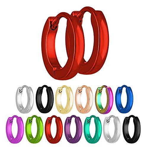 Treuheld® | Schmale Creolen Ohrringe aus Edelstahl | Rot | Größe: 2mm x 13mm
