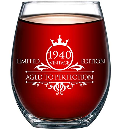 1940 80th Birthday Gifts for Women and Men Wine Glass - Funny Vintage Anniversary Gift Ideas for Mom, Dad, Husband or Wife - 15 oz Glasses for Red or White Wine - Party Decorations for Him or Her