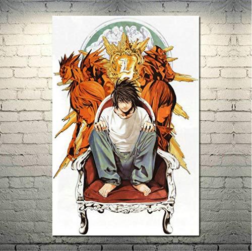 Póster de Lienzo de Seda de Arte japonés Death Note para decoración de Pared de Sala de Estar Moderna (50X70Cm) Sin Marco YI1904
