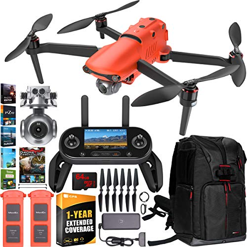 Autel Robotics EVO 2 Drone Folding Quadcopter 8K HDR Video and 48MP Camera EVO II Extended Warranty Expedition Bundle with Extra Battery + OLED Remote Control + Travel Backpack + Software Kit