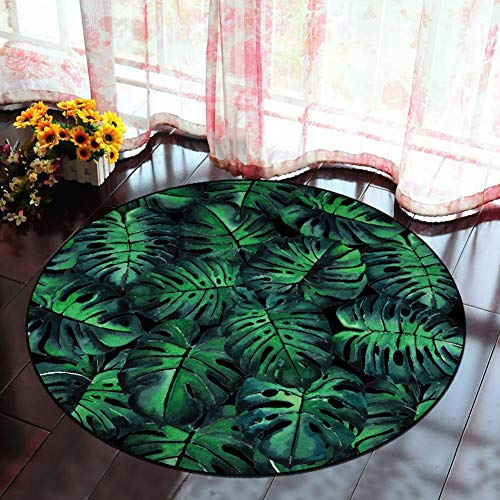 CHENG Runde Teppiche für Wohnzimmer Tropische Pflanzen Baby Nurser Teppiche Matte rutschfeste Gym Spielmatte,diameter160cm