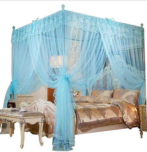 Mengersi 4 Corners Post Canopy Bed Curtain for Girls & Adults - Cute Cozy Bow Netting - 4 Opening -Princess Bedroom Decoration(Full, Sky Blue)