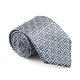 gentsy ® 100% seta cravatte da uomo cucita a mano larghezza 8cm / 3.15 design unico (k32 grigio)