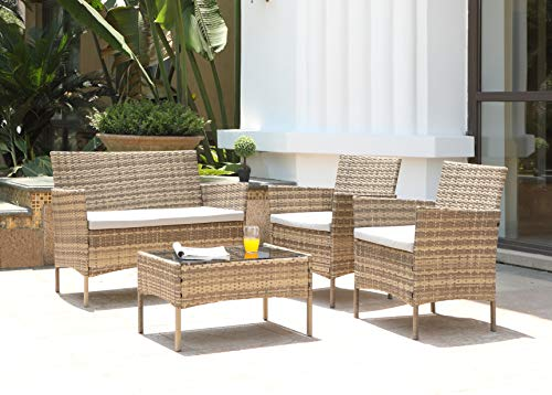 Salbay Rattan-Gartenmöbel-Set für Terrasse, Wintergarten, drinnen und draußen, 4-teiliges Set mit Tisch und Stuhl und Sofa - 3