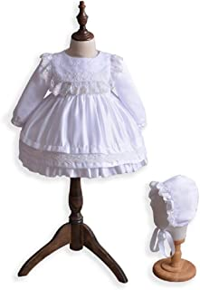 Girls White Christening - Socks Baptism Wedding 3 PCE Outfit with Bib Front 6 mth
