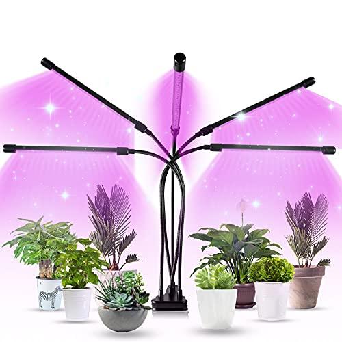 Aogled LED Cultivo Interior 50W,150LEDs Lámpara de Planta Espectro Completo con Temporizador 3 9 12H,3 Modos,10 Brillo,Ajustable de 360° Grow Light de Clip Para el Crecimiento de Plantas