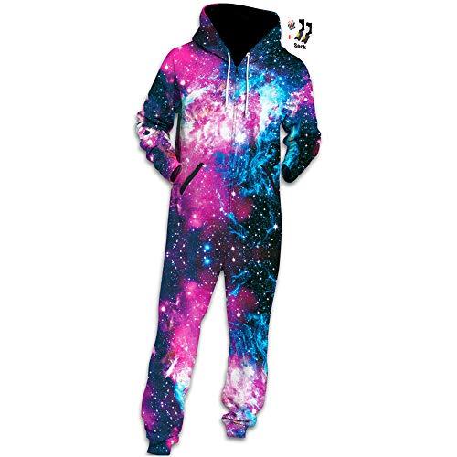 Morbuy Herren Jumpsuit Jogger, Kapuzenpullover Strampelanzug 3D Printed Onepiece Sweatshirt Männer Strampler Weich Nachtwäsche Fitness Bekleidung Overall Trainingsanzug (XL, Lila Galaxie)
