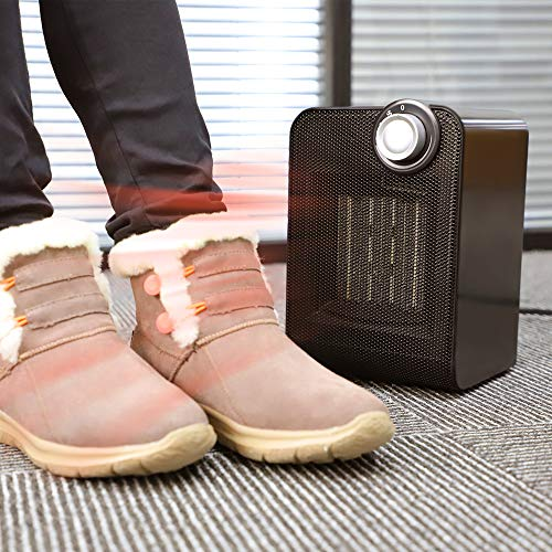 Calentador de espacio eléctrico oscilante automático con termostato para el hogar y la oficina, funcionamiento silencioso, 1000 / 1800W