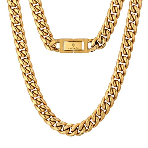 KRKC&CO 10mm Panzerkette 18K Gold plattiert Cuban Link Chains Edelstahl Panzerkette Halskette Miami kubanische Gliederkette für Herren Goldene Halskette Hip Hop Halskette für Männer Jungen Größe 51cm