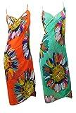 Strandkleid aus Seide | 2er Pack | Wickelkleid Cover Up Strandponcho |Sommer 2020 Bademode Vertuschen Einheitsgröße Bikini – 100% Seide | durchsichtig | 3 Varianten mit Muster - Orange Grün