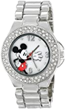 Disney Women's MK2070 Mickey Mouse Mother-of-Pearl Dial Silver-Tone Bracelet Watch