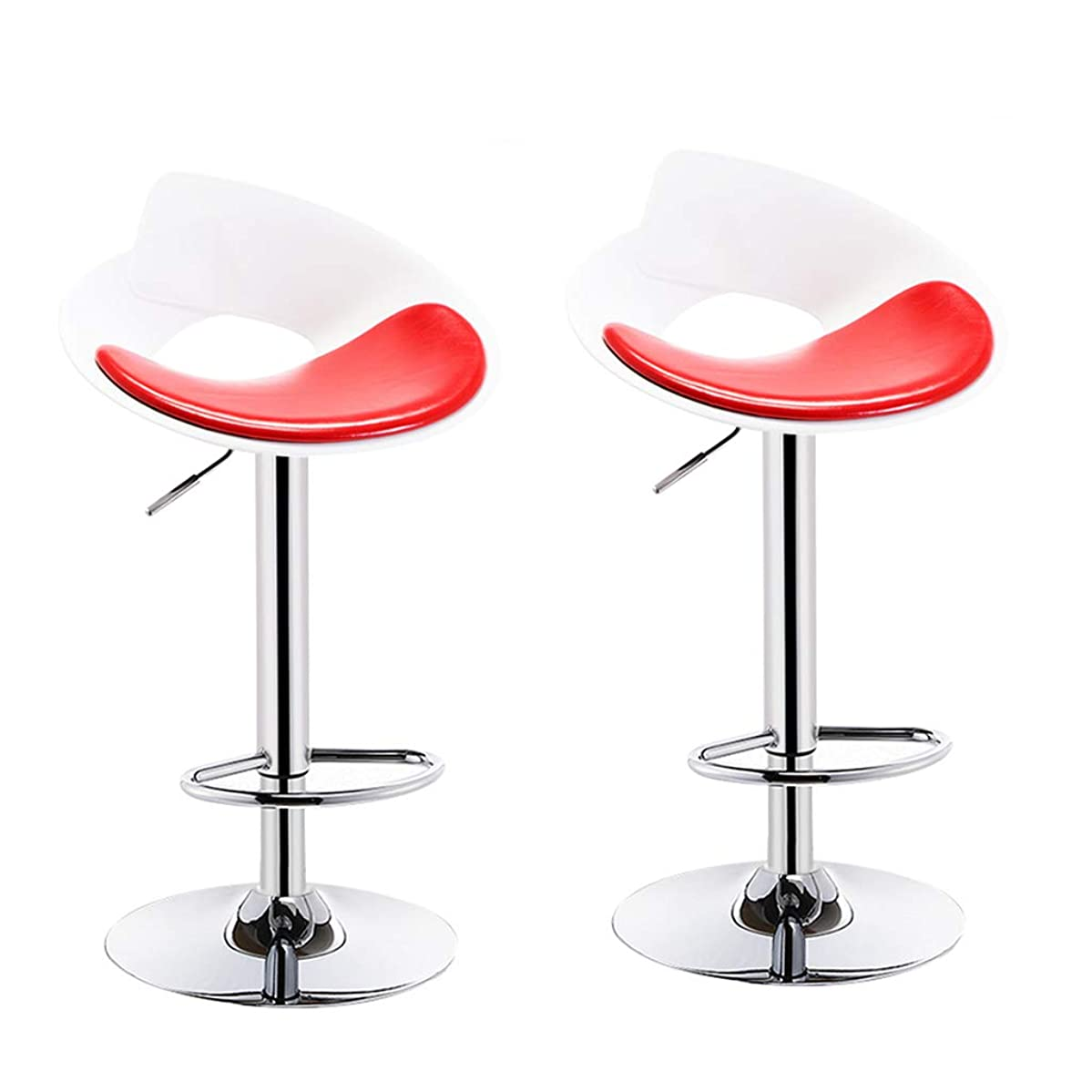 Ailj Bar Stools Swivel Barstool Chairs with Back, Counter Height Stools, Stable Large Chrome Base,Oil Wax Fabric, Black,White, Red Suitable for bar Home (Color : Red×2)