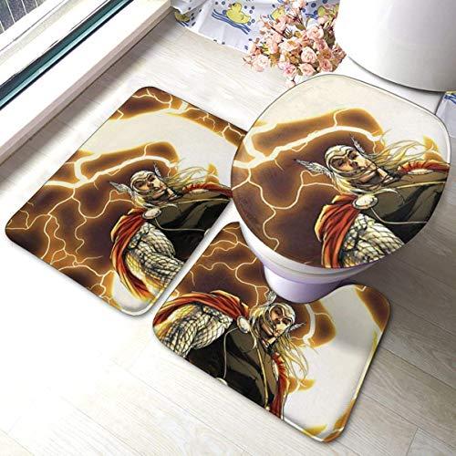 milkcolor Thor Bathroom Rug, Non Slip Bath Mat + U-Shaped Contour Rug + Toilet Lid Cover Set 3 Piece