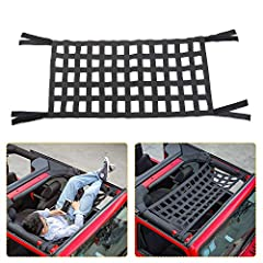 Custom-fitted,Mesh Cargo Net Perfect Fits For 1987-2020 Jeep Wrangler YJ, TJ,LJ,JK & JKU,JL&JLUSport X Sahara Rubicon 2door-4door,its also a top cover for jeep wrangler Easy Installation:No drilling and no cutting requested and use on the top or on b...
