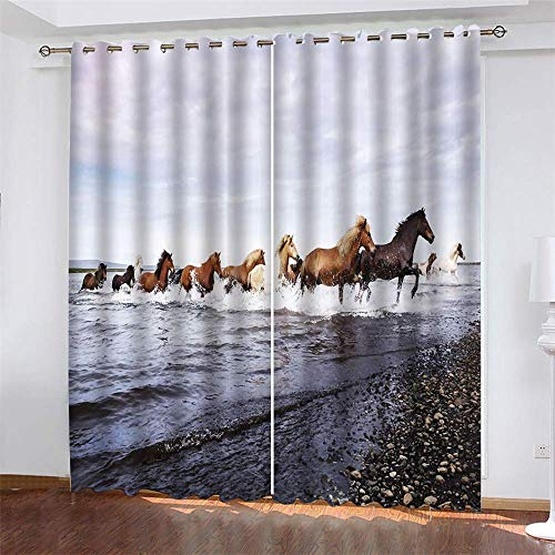 YUNSW Gallop Horse 3D Digital Printing Polyester Fiber Curtains, Garden Living Room Kitchen Bedroom Blackout Curtains, Perforated Curtains 2 Piece Set