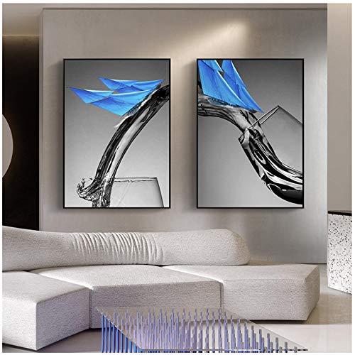 GUOCHEN Arte de Pared, decoración nórdica para el hogar, Pintura en Lienzo, Taza Azul Moderna, velero, Arte de Pared, póster, Imagen Minimalista, impresión artística sin Marco