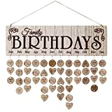 Iwinna Family Birthday Board Plaque DIY Hanging Wooden Birthday Reminder Calendar