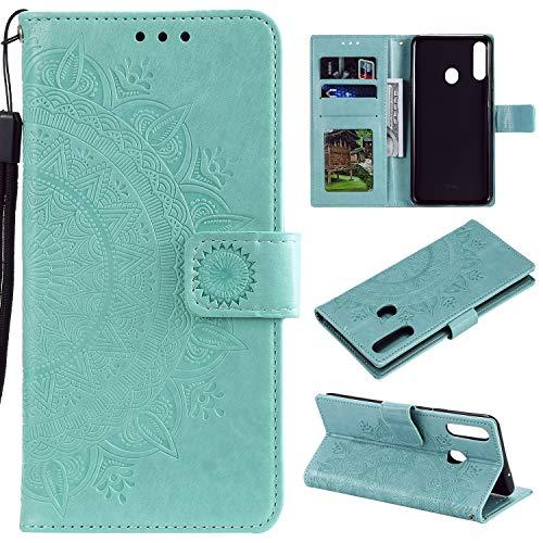 HTDELEC für Samsung Galaxy A20s Hülle,Ultra Slim Flip Hülle Grün Etui mit Kartensteckplatz & Magnetverschluss Leder Wallet Klapphülle Book Hülle Bumper Tasche für Samsung Galaxy A20s(T-Grün)