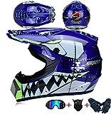 JCLDG Carretera Moto Casco Motocross Casco Eduro Dot Homologado, 4pcs Juego de Casco de Moto + Gafas + Guantes de Motocicleta + Mascarilla Apto para Adultos y niños, Hombre Mujer,Azul,S