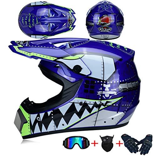 JCLDG Weißer Hai - Motocross Helm, Kinder Cross Helm Moto Cross Motorrad Kinder Off-Road Enduro Sport ATV MTB mit Handschuhe Maske Brille DOT Certified 5 Stile Verfügbar,Blau,M