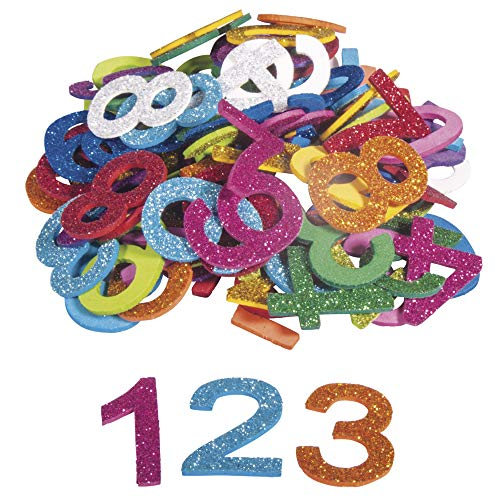 Rayher 30228000 Moosgummi Zahlen Glitter, 3 cm, 100 Stück, selbstklebend, Farben gemischt, Glitter Schaumstoff Sticker, Moosgummi-Aufkleber 0-9, zum Dekorieren