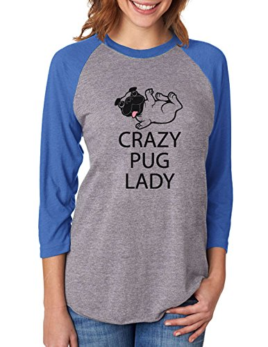 Tstars Crazy Pug Lady Gift for Dog Lover Funny 3/4 Women Sleeve Baseball Jersey Shirt Medium Blue/Gray