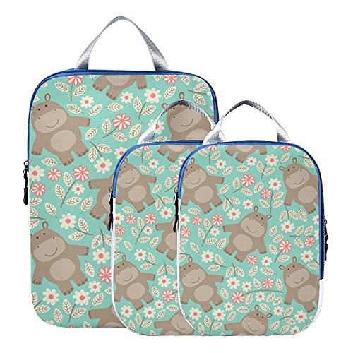 Accesorios de viaje Criatura acuática Animal lindo Hipopótamo Compresión Cubos de embalaje de viaje Organizadores de viaje expandibles Bolsas de embalaje para equipaje de mano, Viaje (juego de 3)
