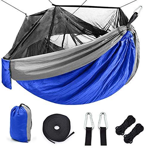 WHCL Hamaca de Camping portátil, Hamaca de Campamento único con Red, paracaídas de Nylon Hamaca con Correas de árbol para Acampar, mochilero, Viajes y Senderismo,Azul