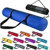 Xn8 Fitness Yogamatte mit Tragegurt Fitnessmatte für Pilates Yoga Gymnastikmatte 183 x 63 x 0,6cm Trainingsmatte rutschfest Sportmatte (Blau)