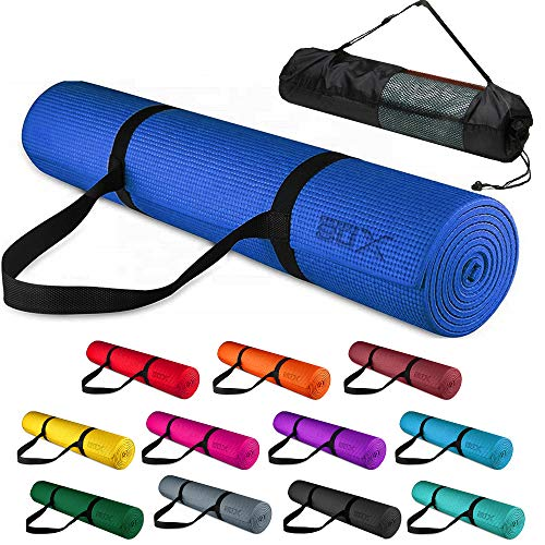 XN8 Yoga Mats 1/4 inch High Density Non Slip Exercise Fitness Mat Home Gym Workout with Carry Bag Blue