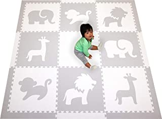 SoftTiles Foam Play Mat Safari Animals Premium Interlocking Foam Large Children's and Baby Playmat 6.5 x 6.5 ft. (Light Gray, White) SCSAFWH