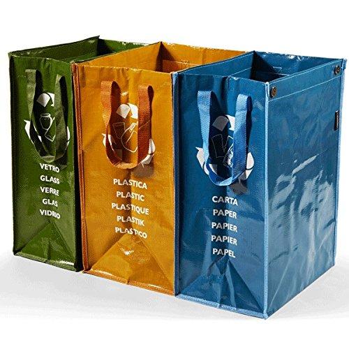 Perfetto 0468D Kit 3 weiche Behälter für die getrennte Sammlung von Papier, Glas, Kunststoff