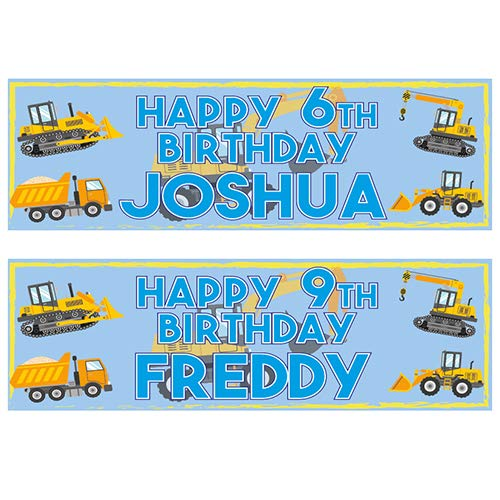 2 Personalised Birthday Banners - Digger Dumper Truck Design - Any Name & Any Age (Approx 3ft x 1ft)