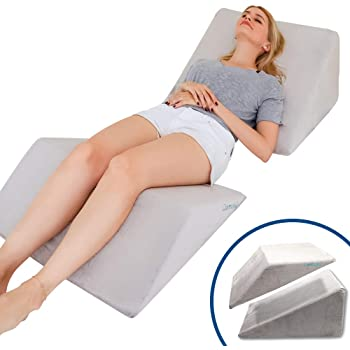 Lisenwood Foam Bed Wedge Pillow Set - Reading Pillow & Back Support Wedge Pillow for Sleeping - 2 Separated Sit Up Pillows for Bed - Angled Bed Pillow, Triangle Pillow for Back and Legs Support