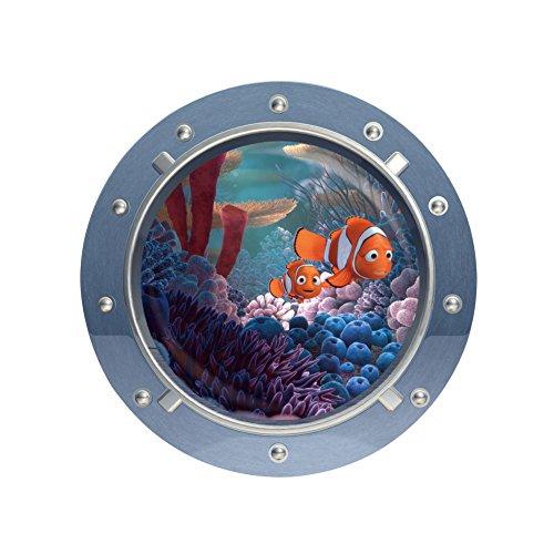 PULABO Adesivo da parete – Finestra 3D Trovare Nemo Art Home Decor per la camera dei bambini adesivo da parete arancione+grigio comodo e pratico popolare